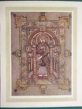 1914 stampa ~ illuminante PIASTRA dal Book of Kells ~ ritratto di San Matteo