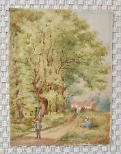 Grande Aquarelle - Lisière de forêt - Circa 1900