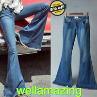 Women Ladies Flared Jeans Retro Bell Bottom Wide Leg Denim Pants Skinny Trousers