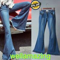 Women Ladies Flared Jeans Retro Bell Bottom Wide Leg Denim Pants Skinny Trousers