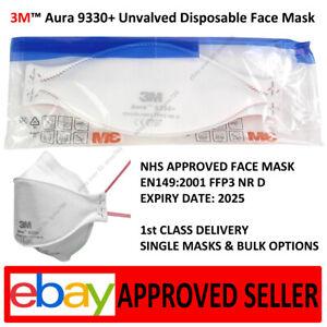 3m 9330+ 100pcs FFP3 Aura Face Mask Unvalved Respirator 9330 Disposable Masks