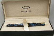 Parker Insignia Winter Blue Swirl & Gold Fountain Pen In Box - Medium Nib - 1997