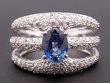 18k White Gold 2.50ct Oval Cut Blue Sapphire Diamond Anniversary Band Ring Sz 8
