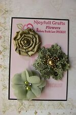 HANDMADE 3 Flower Mix SAGE GREEN Organza Lace Satin 50, 55 & 60mm NjoyfullCrafts