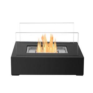 Bio Ethanol Fireplace Indoor Outdoor Camping Glass Top Burner Fire w/FireKiller