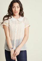 MODCLOTH Darling in Dots Button Up Top Confetti Hearts Size 1X Semi Sheer EUC