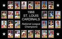 1968 ST LOUIS CARDINALS Custom Baseball Card POSTER Unique Team Photo Decor 68