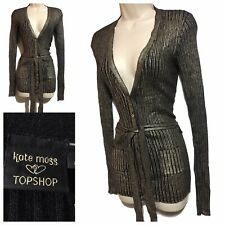 KATE MOSS TOPSHOP Black Gold Ribbed Boyfriend Cardigan Jacket UK 8 Made in Italy