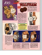 1964 PAPER AD 3 PG Waltham Wrist Watch 100 65 Jewel Auto Saber Mainliner