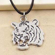 1pcs Tibetan Silver Pendant tiger head Necklace Choker Charm Black Leather Cord