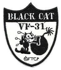 """2.5X3"""" FELIX black cat VF-31 bomb Tomcatters EMBROIDERED IRON ON / SEW ON PATCH"""