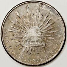 1899 MEXICO GO RS 1 UN ONE PESO SILVER COIN NICE