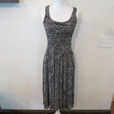 Tracy Reese Womens Dress Sz Small Black Beige Sleeveless Tank Style Midi Length