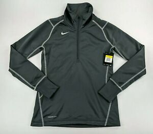 Nike Womens Performance Pullover Therma-Fit Thermal Top 1/2 Zip Grey Size Small