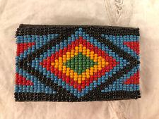 Vintage Native American Hand Beaded Belt Buckle Diamond Green Blue Leather Back