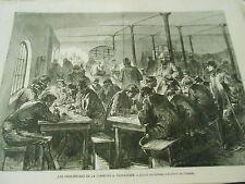 Gravure 1871 - Prisonniers de la commune l'école des détenus à la prison