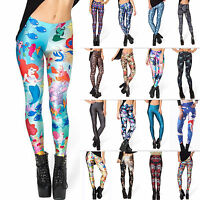 Women 3D Digital Printed Skinny Leggings Stretchy Funky Slim Pencil Tight Pants