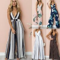 Boho Womens Strappy Floral Pocket Holiday Playsuit Shorts Summer Beach Jumpsuit