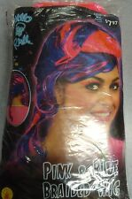 RAVE PINK & BLUE BRAIDED WIG FOR ADULTS FOR WOMEN 14 AND UP ONE SIZE