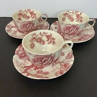 English Chippendale Cup and Saucer Johnson Brothers Red Pink Rose Vintage #E10