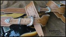 Custom Tooled/Carved Sheridan Style Floral Leather Guitar Strap Hand Crafted 3in