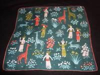 Vintage Tammis Keefe Giraffes & Turban Men Hanky Handkerchief Hankies