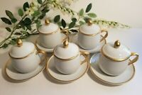 Set of 5 Pot de Creams White and Gold Palais by Fitz & Floyd - 3-Piece Sets