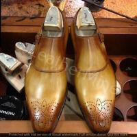 Men's handmade Cognac Leather Monk Strap Dress Shoes, Patina finish men shoes