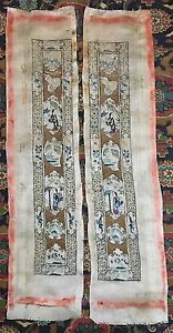 Two Superb Antique Chinese Embroidered Silk Sleeve Panels Cuffs-For Robe
