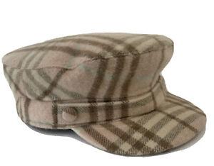 Burberry London Women's 100% Cashmere Check Cap/ Hat Color Rose Size L