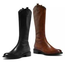New Fashion College Women Motorcycle Low Heel Round Toe Knee High Boots 42 43 L