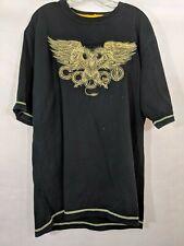 Coogi Shirt Black Embroidered Bird Dragon Phoenix Swords Gold Men's XL Top