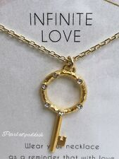 Dogeared Infinite Love Crystal Necklace Dipped 22kt Gold W/ Ribbon Box