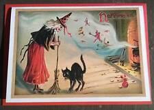 Halloween Card, witch, black cat, cauldron, magic, Samhain, pagan, Wiccan