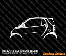 2x car silhouette stickers - for Smart Fortwo city coupe W450 (2002-2007)