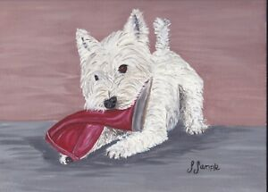 Cute West Highland Card by Sarah Sample Art with paw print cut out detail inside