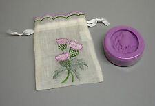 Thistle Embroidered Organza Scottish Wedding Favour Bag 100g Thistle Soap ZC51