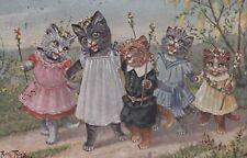 Arthur Thiele  Four Girl Cats & little boy cat walk in country .  TSN