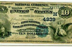 "$10 ""BUCHANAN COUNTY"" (MISSOURI) ""NATIONAL CURRENCY"" 1882 $10 (MISSOURI) CRISPY!"
