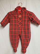 Vintage Baby Bunting Red Plaid Winter Snow Suit 6-12 months