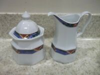 3 Pc Studio Nova Sedona Y0044 Sugar Bowl w/Lid & Creamer Geometric Multi Colored