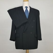 44R Hugo Boss Zeus Double Breasted Gray Striped Mens 44 R Suit 38W Pleated $895