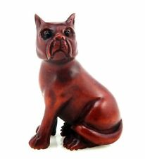 Boxwood Hand Carved Netsuke Sculpture Miniature Lovely Seated Puppy Dog #112815