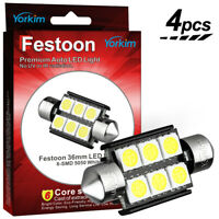 Yorkim 4pc Festoon 36mm 6SMD White 5050 License Plate / Map Dome LED Light C5W