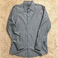 Banana Republic Slim Fit Mens Medium Gray Striped Long Sleeve Button Front Shirt