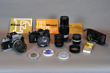 Nikon F Photomic + Nikomat FTn + 6 lenses (4 Nikon, 2 Vivitar) + Accessories