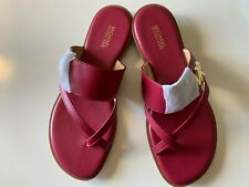 NEW Michael Kors Sandals Women's US 7.5M Leather Shoes WINE RED $95
