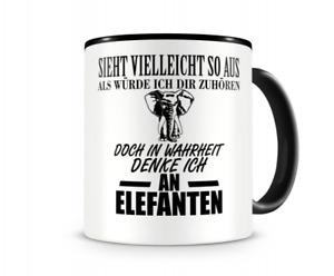 Samunshi Ich denke an Elefanten Tiere Tasse Kaffeetasse Teetasse Kaffeepott