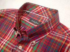 Bobby Jones 100% Cotton Red Royal Plaid Pattern Sport Shirt NWT Large $98.50