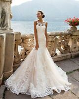 Sleeveless Lace Mermaid Wedding dress Backless White Ivory Bridal Gowns Custom